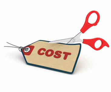 image of cutting the word cost